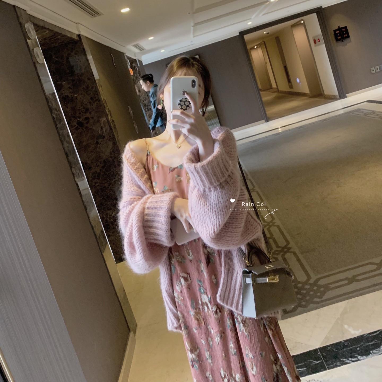 【Rain Col】印花压褶吊带长裙裙/胸前抽绳系带优雅长袖款连衣裙