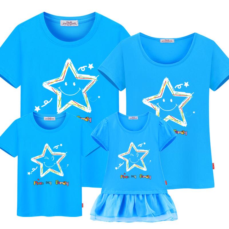 家庭裝親子裝一家三口夏裝2017 潮海邊沙灘星星成品T恤母女裝