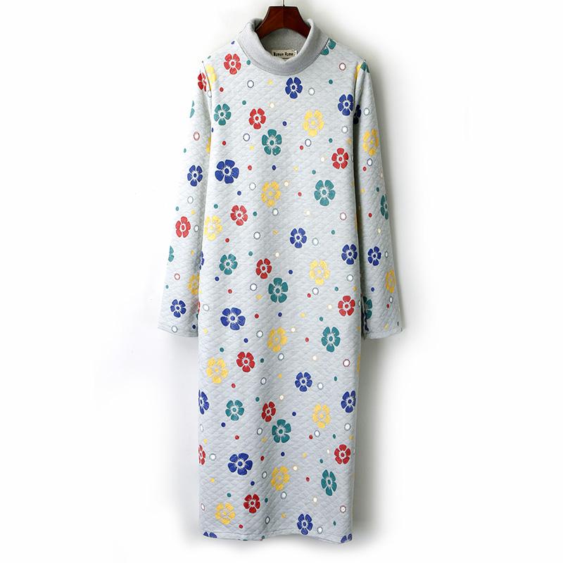 外贸尾单 秋冬季大码女装胖mm中长款显瘦高领印花套头复古连衣裙