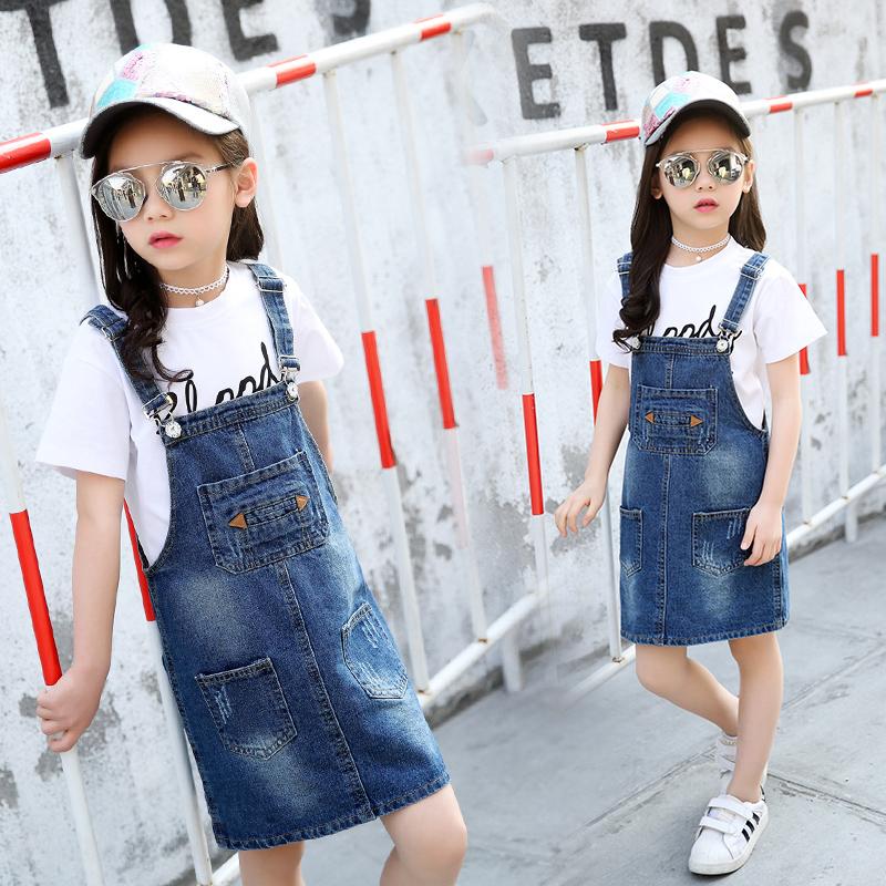 女童牛仔背带裙童装2019新款夏装韩版中大童洋气裙子儿童连衣裙潮