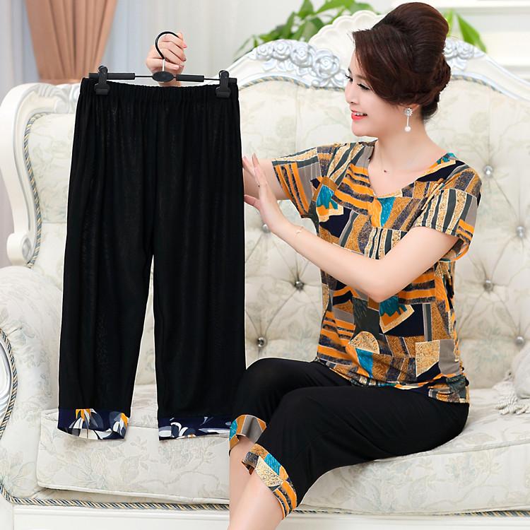 200斤胖人太太妈妈装夏装加肥加大码中老年女装短袖T恤上衣婆婆