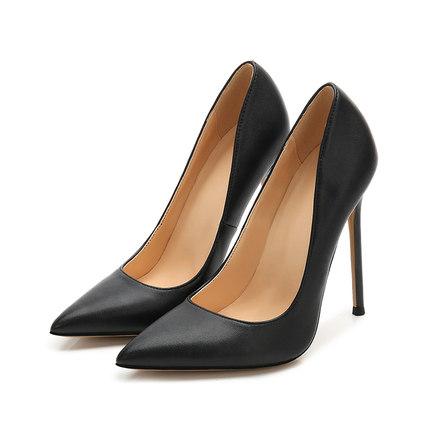 匠约黑色恨天高12厘米女细跟高跟鞋