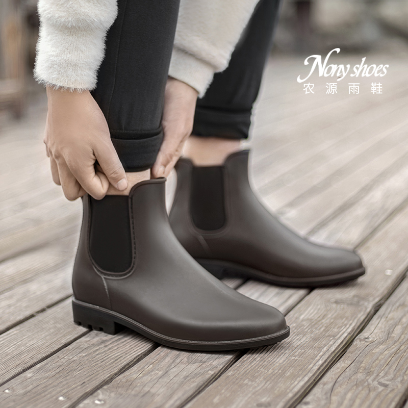 Japanese rain shoes men's waterproof rubber shoes low top Chelsea Boots Men's water Boots Men's short tube fashion non slip rain boots