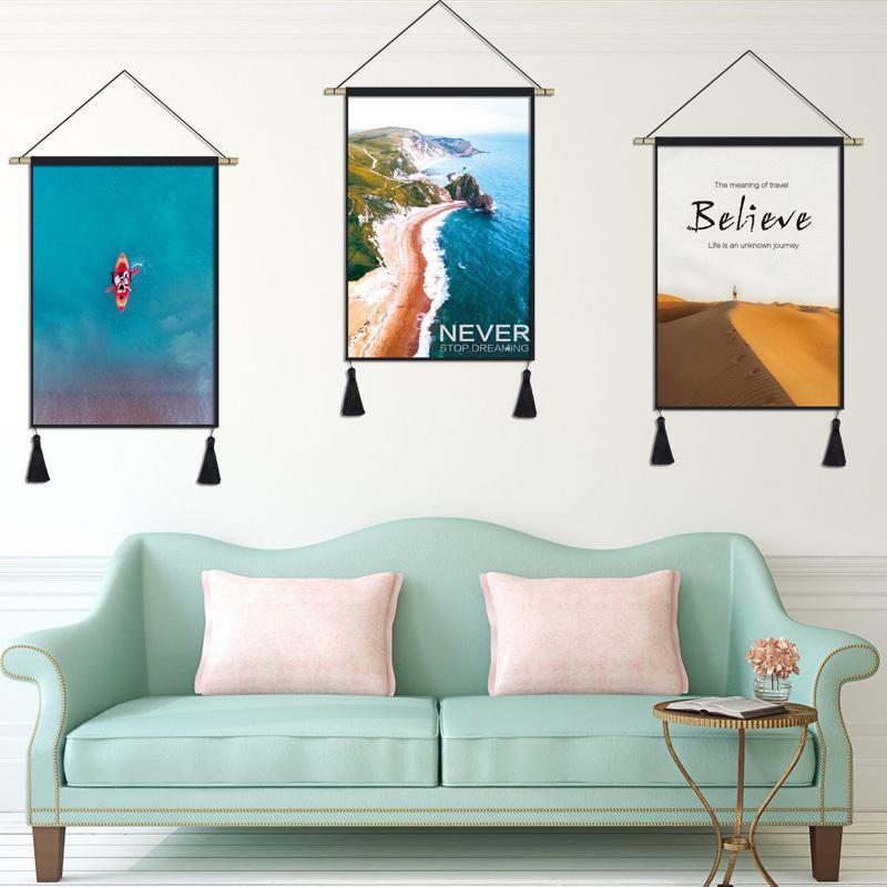 简约风北欧风景海景挂毯背景布ins挂布墙布客厅玄关壁毯装饰挂布满39.80元可用19.9元优惠券