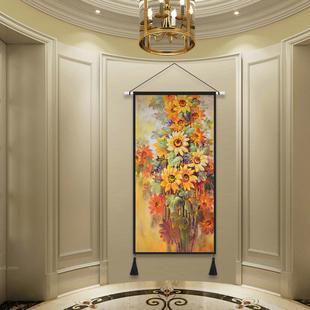 欧美田园挂毯北欧挂画布艺太阳花客厅背景玄关装饰画卧室床头布画