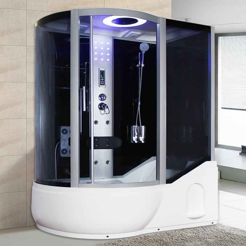 整体淋浴房带冲浪洗澡间一体式浴室桑拿房泡澡带浴缸干湿分离玻璃