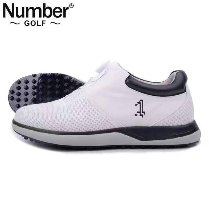 Number golf shoes new mens fastener button shoes white knob Golf mens shoes