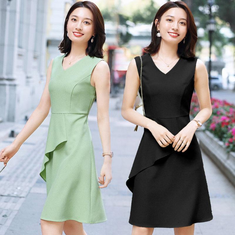 夏季无袖连衣裙通勤ol工作服短裙