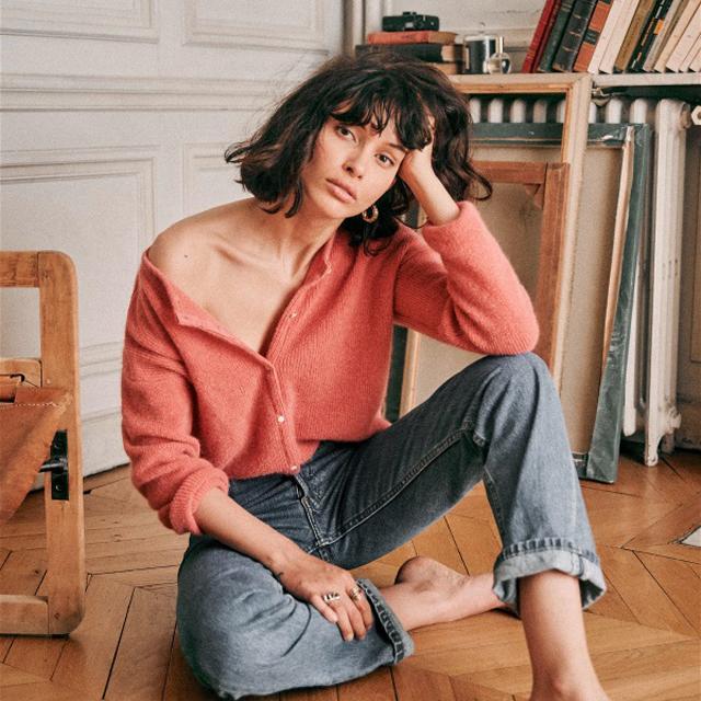 法式风马海毛羊毛混纺前后两穿圆领单排纽扣毛衣开衫针织衫女装新
