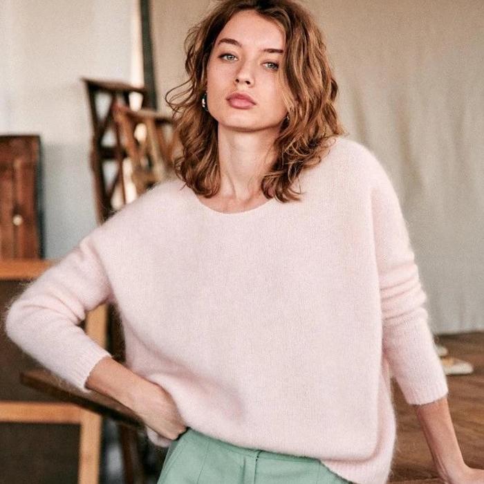 法式风马海毛羊毛混纺圆领露背后背蝴蝶结落肩袖女款毛衣针织衫