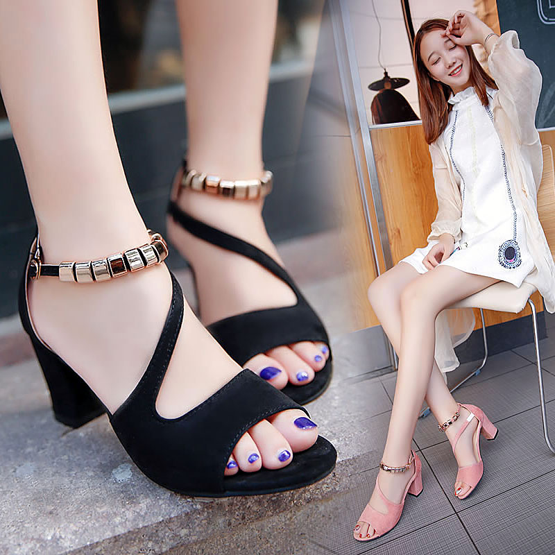Fairy style thick heel versatile Roman sandals women 2021 new high heels womens one word open toe ins net red shoes