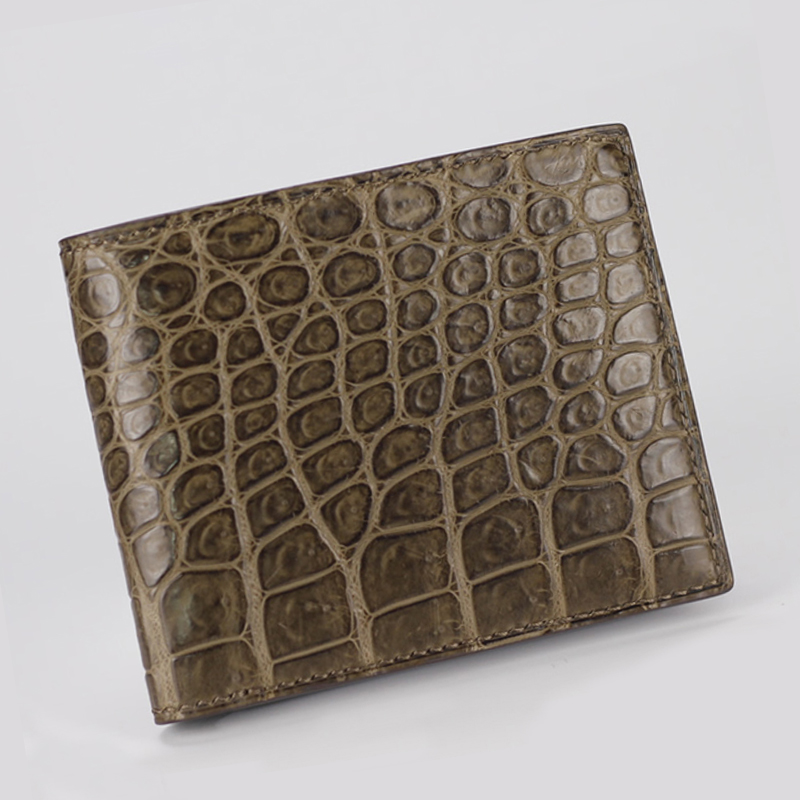Hand sewn mens short wallet two fold alligator wallet double faced alligator horizontal business trendy mens wallet