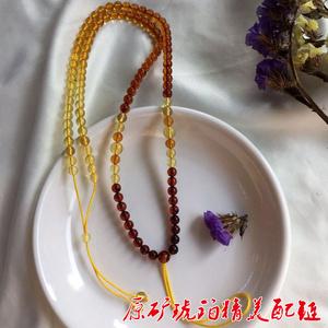 诚信珠宝 天然琥珀项链挂绳吊坠配链锁骨链 渐变琥珀链 琥珀女