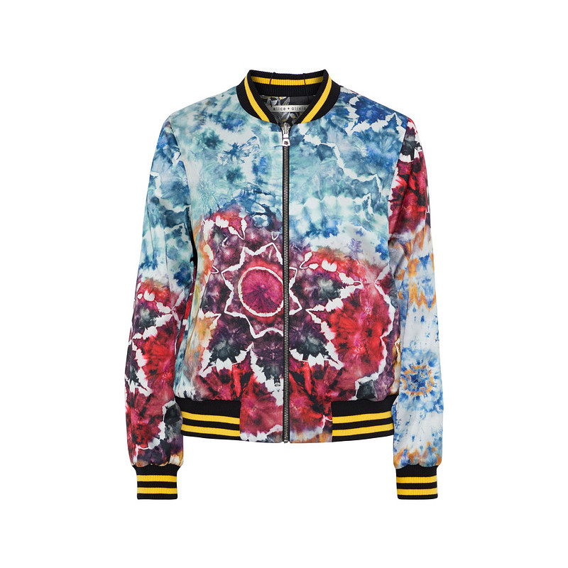 Alice + Olivia womens Lonnie can wear tie dyed Satin jacket and jacket