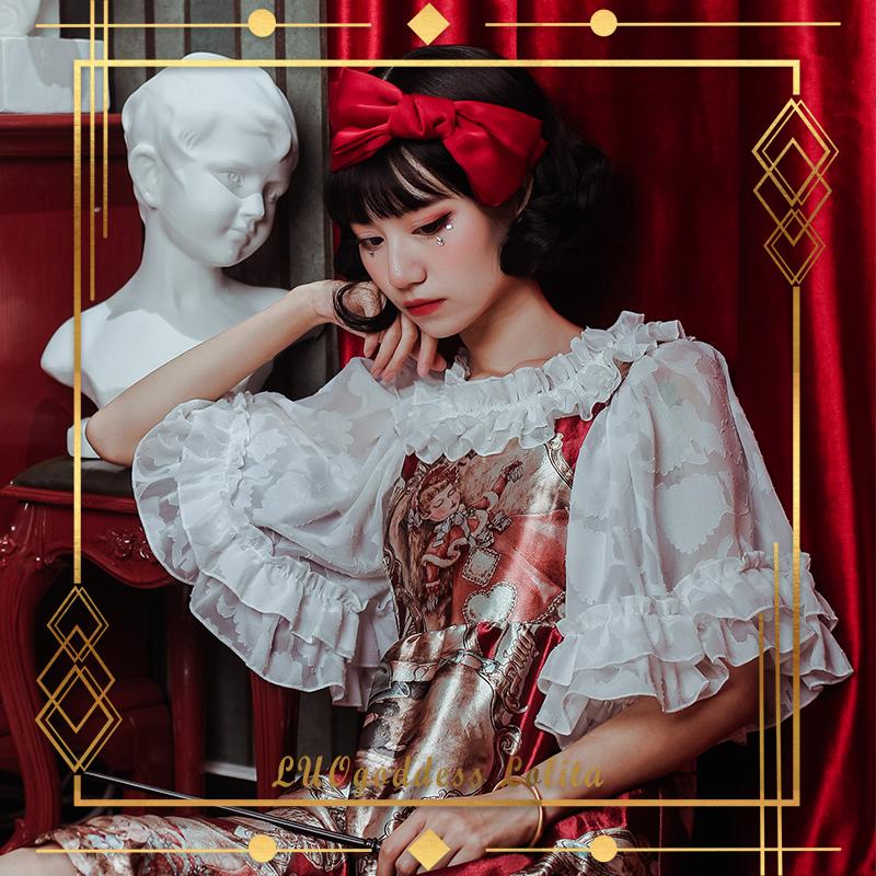 -Evening fragrance - original Lolita with gorgeous flower pattern short sleeves