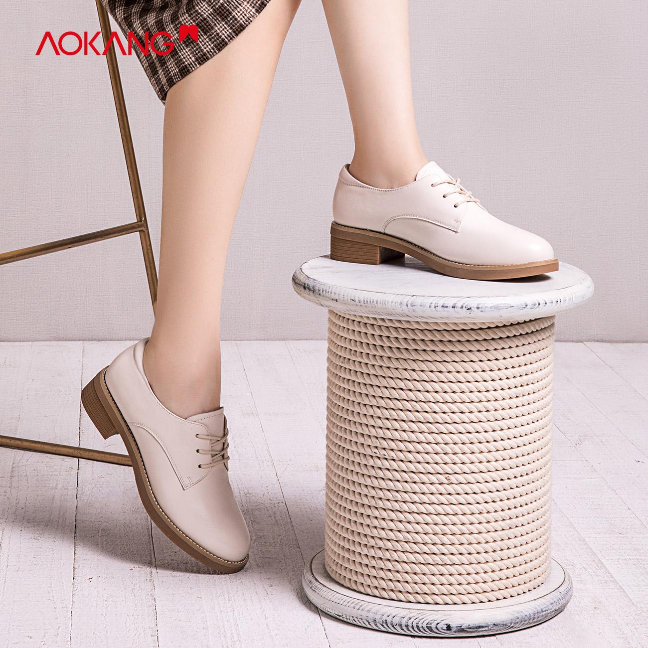 オーコンの女性靴2020春の新型ファッション百合牛皮皮皮皮皮皮皮靴靴、ワークシューズ、シンプルで粗いヒール