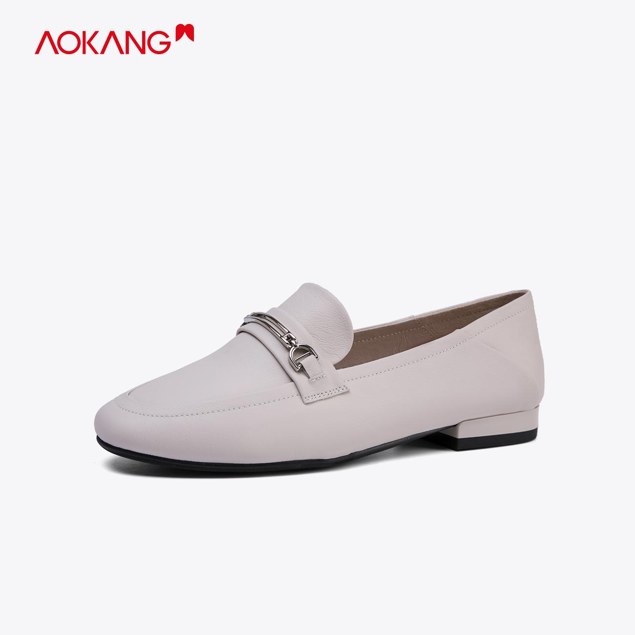 奥康婦人靴2020春新型牛革丸首低とカジュアル靴カバー足2つは快適です。