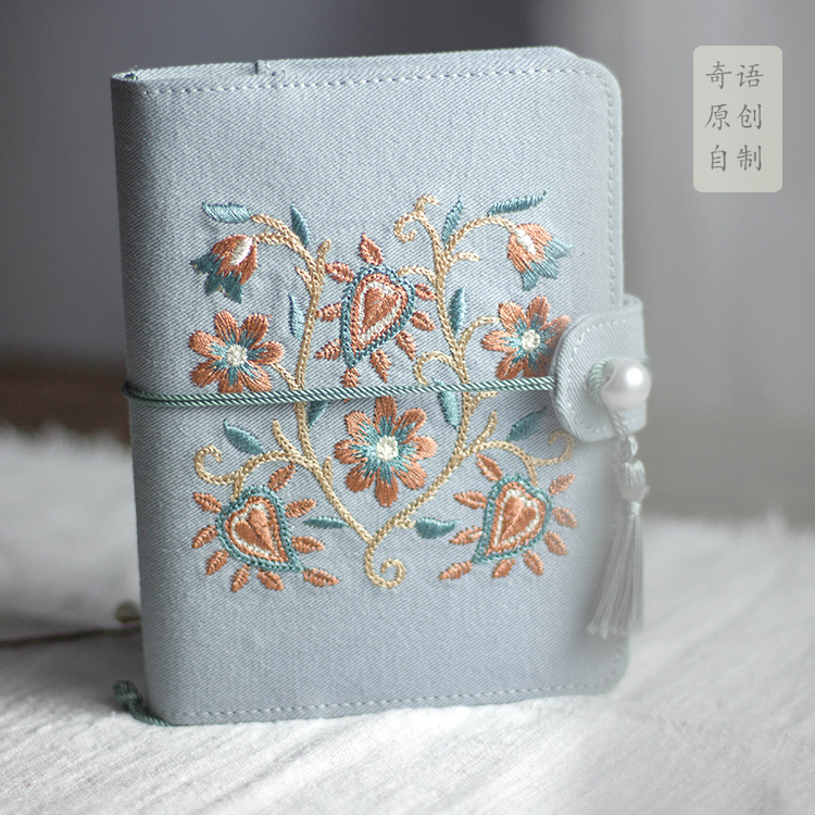 A6A5古风布艺刺绣手账本随身小本子文艺笔记本汉服风中国风日记本