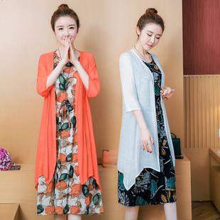 2019春夏大码女装宽松两件套棉麻套装连衣裙胖mm遮肉显瘦棉绸长裙