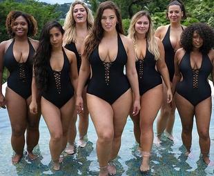新款连体运动泳衣女大码胖mm200斤比基尼性感遮肚沙滩度假泳装