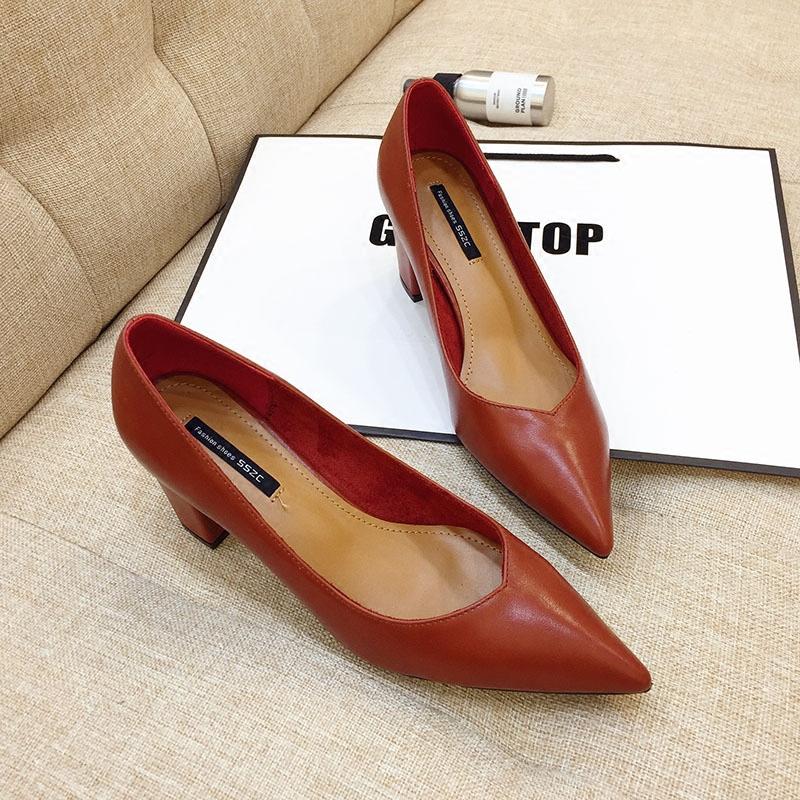 GIRL家女鞋尖头单鞋粗跟工作鞋6CM浅口高跟鞋OL黑色职业鞋女皮鞋