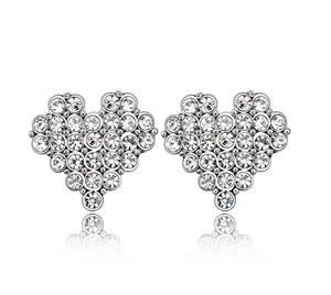 欧美简约镶钻爱心白色心形18K银饰女孩耳钉送女友小礼品耳环