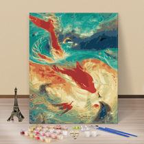 臥室餐廳壁畫歐式花卉手工裝飾畫手繪油畫梵高向日葵三聯客廳掛畫