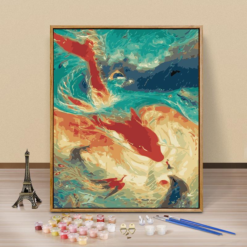 diy数字油画 手绘手工填色数码油彩画客厅动漫人物风景花卉装饰画图片