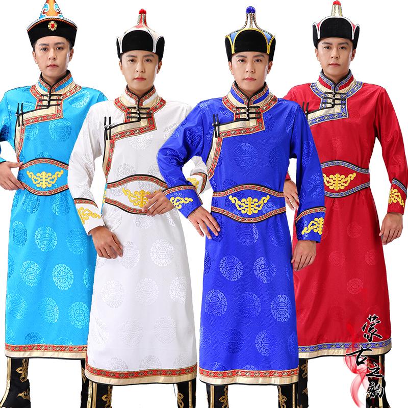 新款蒙古男士长款蒙族传统蒙古袍