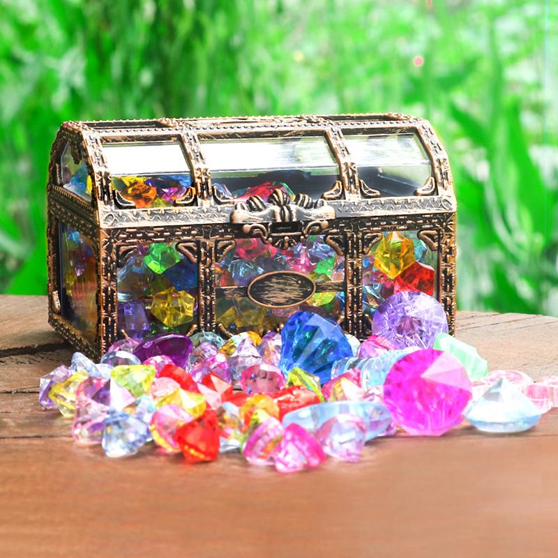 儿童水晶宝石玩具钻石宝箱盒子公