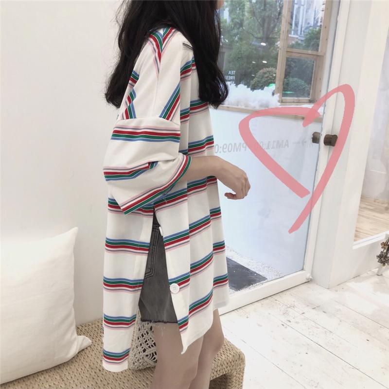 个性开叉上衣夏季女装韩版chic简约彩色条纹宽松休闲T恤女短袖潮