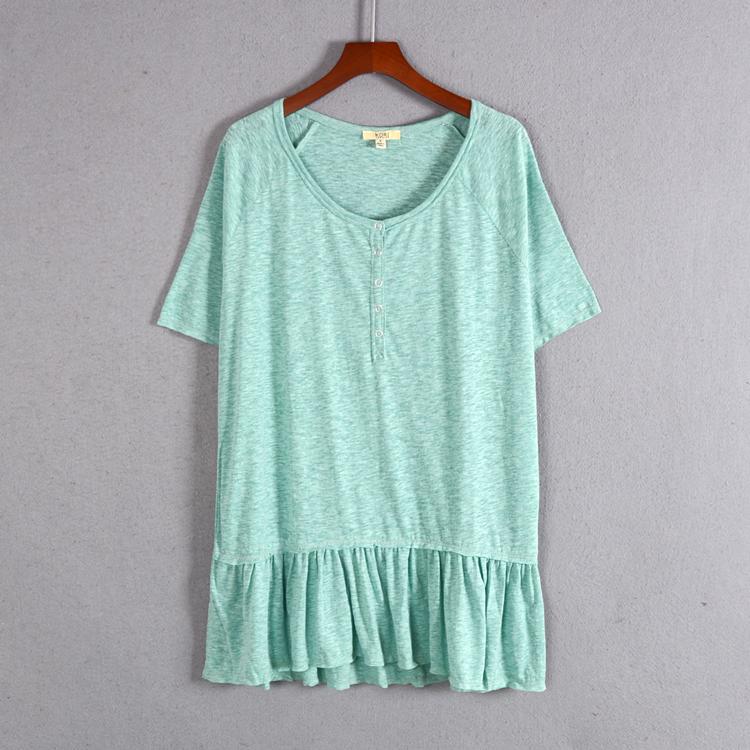 外贸尾单夏季新品女装短袖宽松棉质中长款圆领T恤衫纯色显瘦清仓