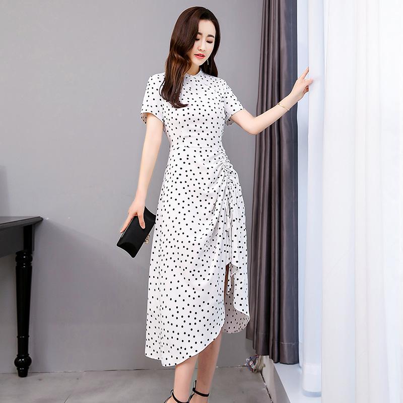Slim standing collar short sleeve skirt dot dress pleated skirt one piece long skirt black / white jg06616
