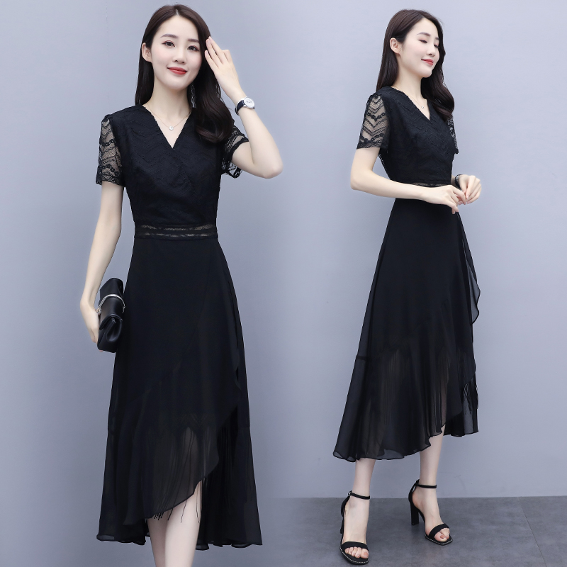 Summer new sexy black lace patchwork waist dress V-neck short sleeve skirt one-piece long skirt k020566
