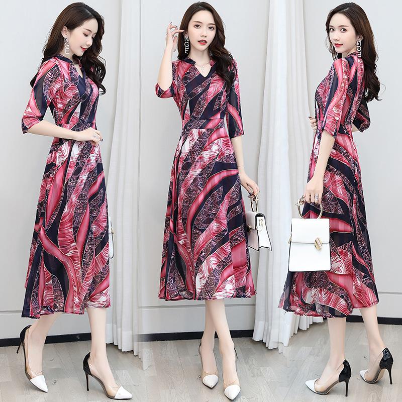 Temperament Satin gilded Chiffon print dress V-neck 5 / s waist length dress multicolor il01111