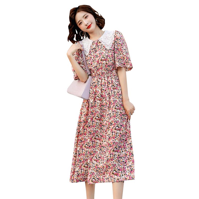Summer skirt sweet color matching Lapel 5 / s dress floral dress elastic waist dress k052009