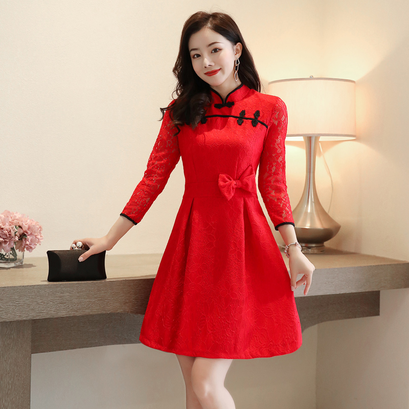 Chinese style small stand collar color contrast coil BUTTON DRESS bow waist lace skirt red dress iy02028