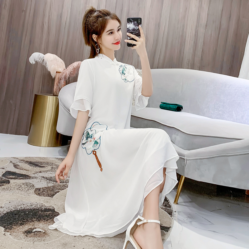 Stand collar, plate buckle, Hanfu, ruffle, 5 / 6 sleeve, white dress, embroidered one-piece dress, medium length dress, je08912