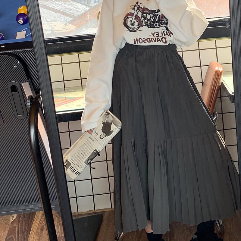 限10000张券赛小懒韩版中长款高腰显瘦拼接百褶半身裙女秋季2019新款复古裙子