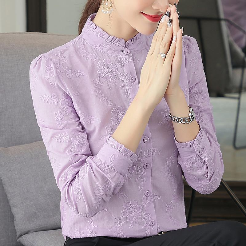 纯棉长袖衬衣女2018秋装新款女装保暧上衣冬加厚女士立领加绒衬衫
