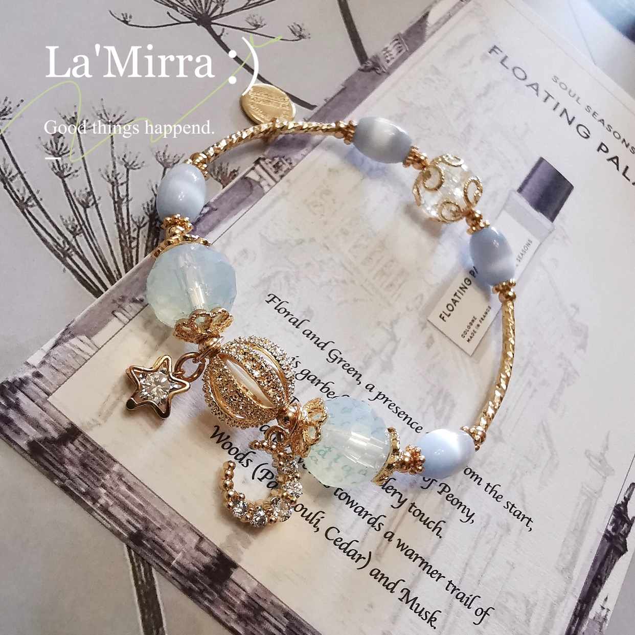 Ins Baroque cool wind star moon blue white crystal bracelet soft bracelet cats eye natural 14K Gold Bracelet for women