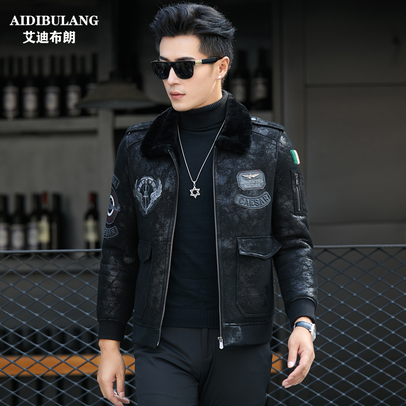 New youth original ecological wool liner fur one Haining leather jacket short leather jacket mens wear