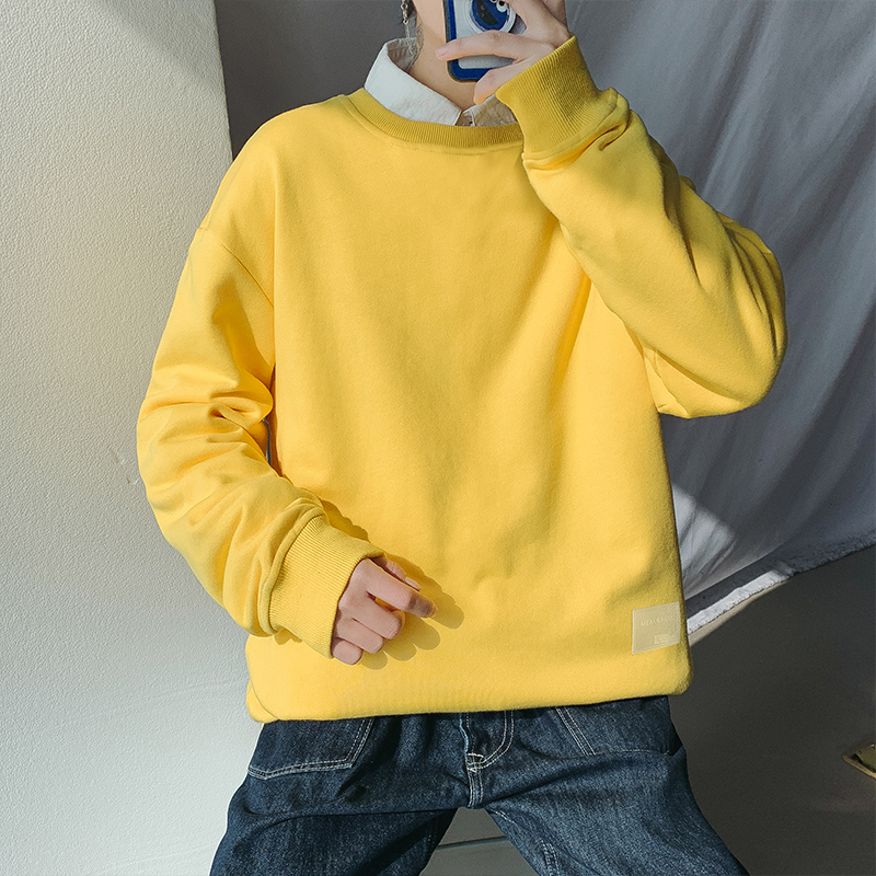 Long sleeved t-shirt mens trend ins loose spring and autumn 2020 new mens top solid color with mens bottom shirt