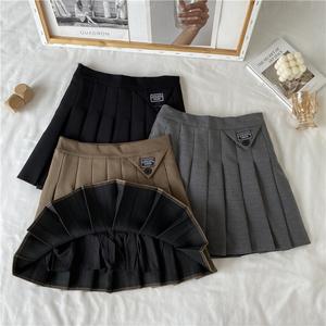 實拍 8575韓版個性百褶裙設計感側邊拉鏈半身裙 有內襯 百搭潮入