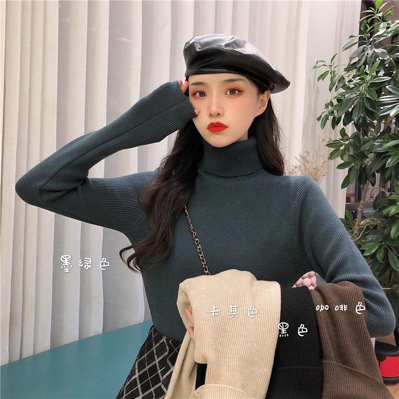 实拍 6039韩版复古修身加厚打底衫长袖高领百搭纯色毛衣