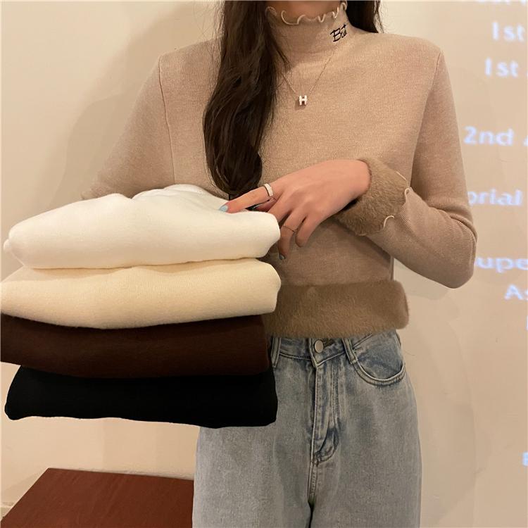 實拍 8632韓版洋氣一體絨針織刺繡半高領ins木耳邊長袖針織衣
