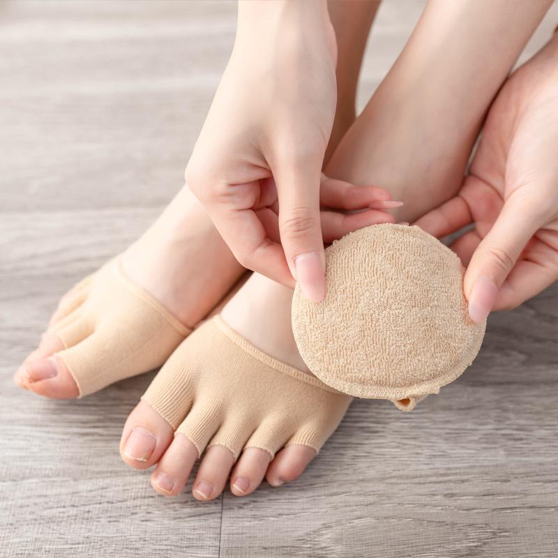 3双 半掌袜隐形吸汗薄款纯棉五指袜女士凉鞋高跟鞋前脚掌防磨船袜