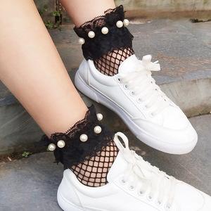 夏季珍珠网袜短袜女韩国黑色花边袜薄款镂空渔网袜短筒lolita袜子