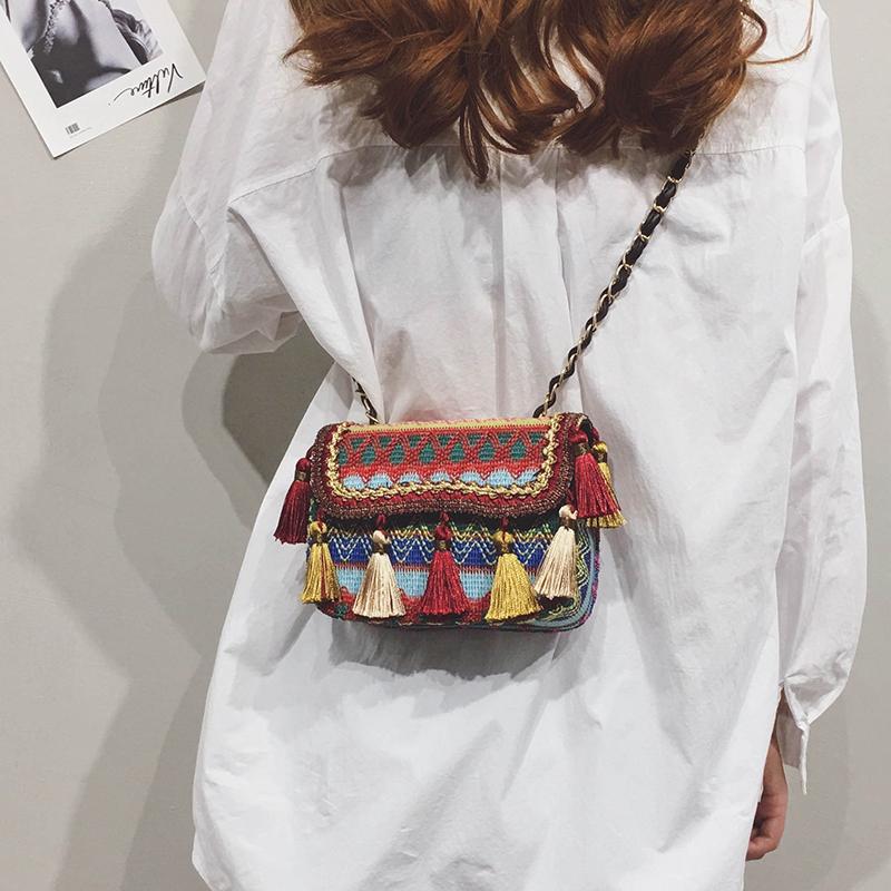 鏈條迷你小包包仙女2019夏天新款時尚編織流蘇小方包單肩斜挎包潮