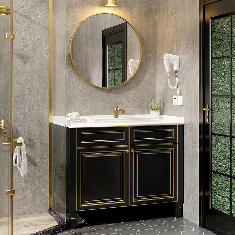 限时2件3折北欧浴室柜轻奢实木美式落地洗脸盆柜组合洗手池描金卫生间洗漱台